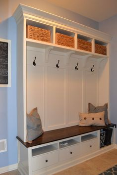 Bench with storage ikea locker hack mud room hack mudroom lockers with bench storage hallway storage . bench with storage ikea Furniture, Blue Painted Walls, Mud Room Storage, Ikea Hack, Mudroom Lockers, Light Blue Walls, Kitchen Storage Shelves, Home Decor, Mudroom