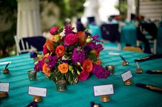 Colorful wedding flowers! Groovy Kind of Love | Matthew and Donny Get Married with photos by Katherine Birckbeck Photography | The Pink Bride®️️ www.thepinkbride.com