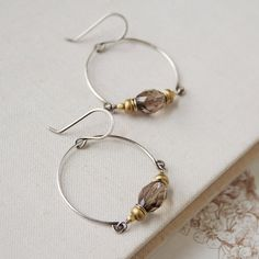 Dangling hoop earrings ~ smoky quartz, brass, sterling silver, goldfill beads  . . .  ღTrish W ~ http://www.pinterest.com/trishw/  . . .  #handmade #jewelry #beading