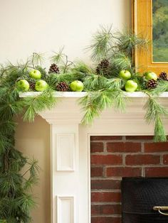 40 Gorgeous Holiday Mantel Decorating Ideas | Midwest Living              A natural look for my mantel.