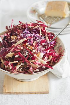 Red Cabbage Radicchio Beet Salad w/ Purple Sage, Pecorino & Pepitas