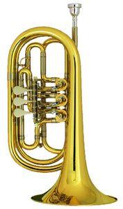 Melton 129-L Bb- Bass Trumpet    3 Zylinderventile Schallbecher Ø 21cm Bohrung Ø 14 mm Messing Korpus und Schallbecher Klarlack lackiert inkl. Mundstück Made in Germany