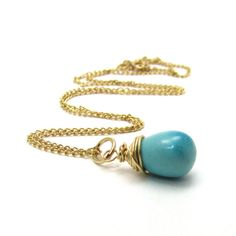 Genuine turquoise necklace, Sleeping Beauty turquoise jewelry, December birthstone turquoise blue necklace, gold Arizona turquoise pendant by Felisa Jewelry & Design #turquoise