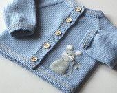 Blue baby sweater with mouse light blue merino jacket for baby boy MADE TO ORDER