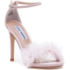 STEVE MADDEN Scarlett Pink Fluffy Sandal ($99) ❤ liked on Polyvore featuring shoes, sandals, pink, steve madden, high heeled footwear, pink sandals, feather sandals and ankle tie sandals