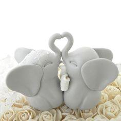 Wedding Cake Topper Light Grey Elephants Bride And Groom Keepsake Fully Custom