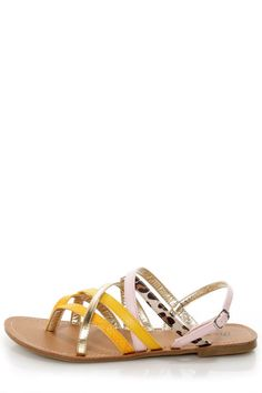 Promise Pam Mango Color Block Strappy Flat Sandals - $24.00