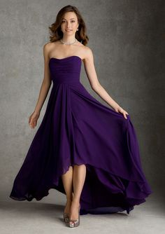 MZ0313 Cheapest 2014 Hi-Lo Chiffon Purple Sweetheart Neckline Bridemaid Dresses Custom Made $98.99