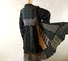 Reconstructed Sweater Coat Black and Tan ...etsy