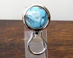 Chrome Magnetic Eyeglass Holder Aqua Blue by DARLAsTurningTrades