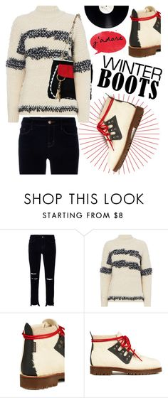 """""""So Cozy: Winter Boots"""" by hamaly on Polyvore featuring J Brand, Moschino Cheap & Chic, outfit, Boots, ootd and winterboots"""