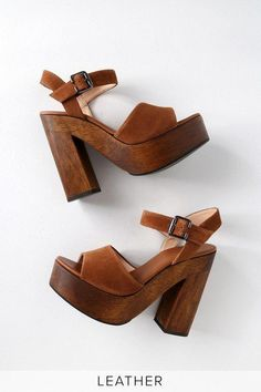 Stand out from the crowd in the Lulus Lolita Leather Cognac Suede Wooden Platform Heels! These trendy heels have a genuine suede peep-toe upper. 70s Shoes, Me Too Shoes, Cute Shoes Heels, Boho Shoes, Shoes Men, Flat Shoes, Heeled Loafers, Sandal Heels, Heeled Sandals