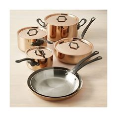 Williams-Sonoma Mauviel M250C Copper 10-Piece Cookware Set ($2,000) ❤ liked on Polyvore featuring home, kitchen & dining, cookware, copper skillet, copper saute pan, copper soup pot, copper sauce pan and copper sauce pot