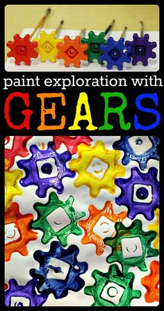 Preschool Art Projects – Painting with Gears Process Painting with Gears! Great way to link movement, motor skills, science and art. Can do patterns, color sort or free painting to suit your class needs. Preschool Painting, Preschool Art Projects, Preschool Activities, Preschool Art Centers, Preschool Transportation Crafts, Preschool Color Theme, Process Art Preschool, Creative Curriculum Preschool, Painting Activities