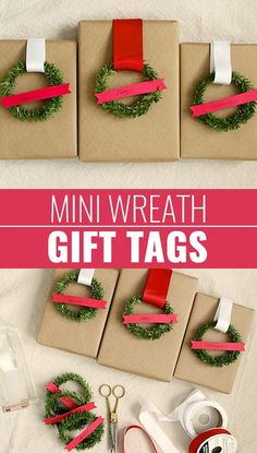 DIY Gift Wrapping Ideas - How To Wrap A Present - Tutorials, Cool Ideas and Instructions | Cute Gift Wrap Ideas for Christmas, Birthdays and Holidays | Tips for Bows and Creative Wrapping Papers |  Mini-Wreath-Gift-Tags  |  http://diyjoy.com/how-to-wrap-a-gift-wrapping-ideas