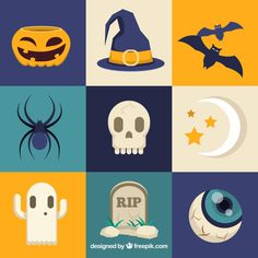 Nine square halloween themed stickers Free Vector