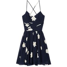 Band Of Outsiders Rose Print Dress ($545) ❤ liked on Polyvore featuring dresses, vestidos, navy, v neck dress, navy dress, blue slip dress, navy blue floral dress and blue spaghetti strap dress