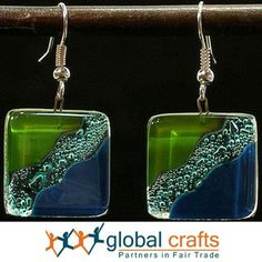 Fused Glass Ocean River Meadow Earrings (Chile) | Overstock.com Shopping - The Best Deals on Earrings