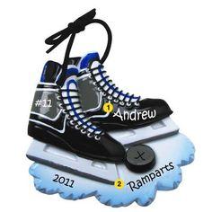 Personalized Christmas Ornament Hockey Skates, Hockey Puck,Sports, Coach, Team Gift- Free Personalization