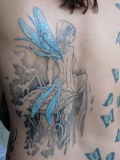 Blue Winged Fairy Tattoo