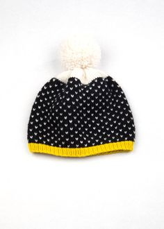 Patterned Pom Pom Beanie | Black & White Speckle by WhiteLodgeKnitwear on Etsy https://www.etsy.com/listing/164255555/patterned-pom-pom-beanie-black-white