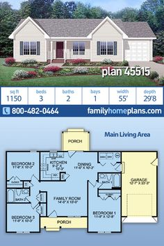 Simple Efficient Starter Home for First Time Home Builders at Family Home Plans An affordable ranch house plan 45515 has 1150 square feet of living space in an efficient floor plan. Split bedroom layout, simple shape and a Continue Reading → Sims House Plans, Garage House Plans, Family House Plans, New House Plans, Dream House Plans, Modern House Plans, Car Garage, Build House, Simple Floor Plans