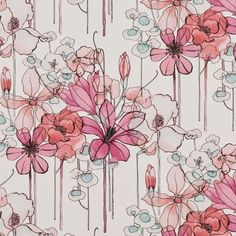 Leila fabric from Villa Nova in Gerbera Textile Pattern Design, Surface Pattern Design, Pattern Art, Print Patterns, Flower Patterns, Watercolor Cards, Floral Watercolor, Flower Art Images, Plant Drawing