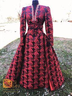 RED MAJESTE Diamanté Brocade Mermaid Dress & Corset Overskirt, Red formal dress Corset Belt, Horse Hair, Embellished Dress, Red Carpet Fashion, Braids, Mermaid, Neckline, One Piece, Formal Dresses