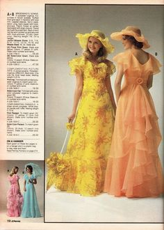 JC PENNEY 1978 Wore the peach dress with the hat in my sister's outdoor wedding Seventies Fashion, 70s Fashion, Fashion History, Fashion Dresses, Vintage Fashion, Winter Fashion, Women's Fashion, Fashion Tips, Vintage Outfits