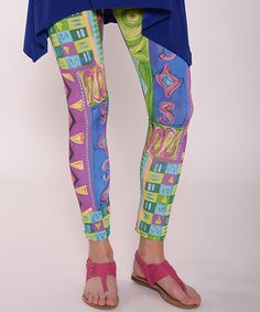 Look what I found on #zulily! Blue & Green Abstract Leggings - Women by Lbisse #zulilyfinds