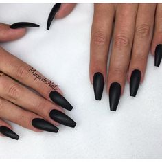 A little too thin/sharp of an angle Matte black coffin nails Matte Black Nail Polish, Black Acrylic Nails, Black Coffin Nails, Summer Acrylic Nails, Matte Nails, Stiletto Nails, Black Acrylics, Coffen Nails, Black Nail Designs