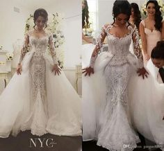 2017 Detachable Skirt Long Sleeve Mermaid Wedding Dresses Luxury Beaded Amazing Embroidery Detail Dubai Arabic Wedding Gown Steven Khalil Tulle Mermaid Wedding Dress Wedding Dresses In Uk From Gaogao8899, $301.51| Dhgate.Com
