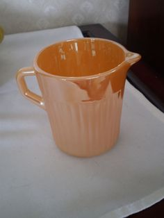 PEACH LUSTER CREAMER - ANCHOR HOCKNG - FIRE KING - RIBBED -  $7.99