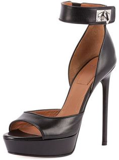 Givenchy Leather Shark-Lock d'Orsay Sandal, Black