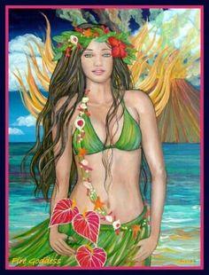Pele - no lehua? Hawaiian Girls, Hawaiian Art, Hawaiian People, Polynesian Art, Hula Dancers, Caribbean Art, Exotic Art, Hula Girl, Tropical Art