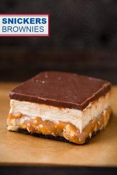 Snickers Brownies @FoodBlogs