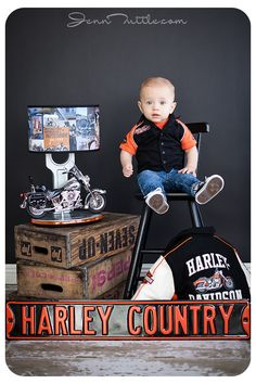 Harley davidson props baby photo