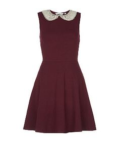 Burgundy (Red) Burgundy Crochet Collar Skater Dress | 284681267 | New Look