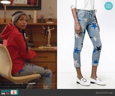 Zoey's red hoodie and star print jeans on Grown-ish. Outfit Details: https://wornontv.net/88518/ #Grown-ish