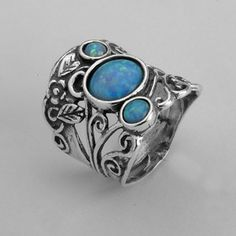 Shablool - Ladies Classic Blue Fire Opal Sterling Silver 925 Genuine Ring