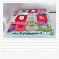 Bright & fresh crochet patchwork blanket