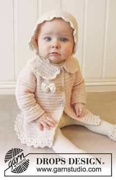 Little Lady Rose / DROPS Baby 25-12 - Crochet baby jacket with raglan and fan edges, worked top down in DROPS BabyAlpaca Silk. Size 0-4 years.