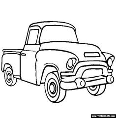 Free trucks Coloring Pages. Color in this picture of an Pickup Truck and others with our library of online coloring pages. Save them, send them; they& great for all ages. Online Coloring Pages, Coloring Book Pages, Coloring Sheets, Jacked Up Trucks, Old Trucks, Pickup Trucks, Pickup Camper, Chevy Trucks, Jeep Pickup