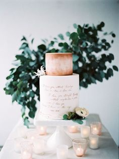 Clean and Modern Wedding Cake with Rose Gold Calligraphy | peaches & mint photography | http://heyweddinglady.com/organic-meets-metallic-sage-rose-gold/