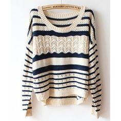 Beige Batwing Sleeves Sweater in Stripe Print via Polyvore