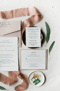 The Chateau Suite utilizes the trending blush color paired with gold foil and deckled cotton edges. | blush, pink, metallic, gold, type, typography, classy, classic, letterpress, traditional, vintage stamps, champagne, elegant, simple, soft pink, ivory | Gatherie Creative