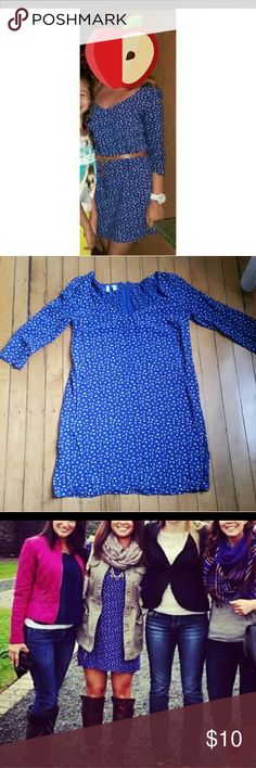 Cute Blue Dress 3/4 sleeves, zip back, small white heart print. Can be worn belted or with boots! This is a reposh, I love it, but was just a bit too small for me. I would recommend for a size 2 or small 4, and 34C or smaller bust. Mango Dresses