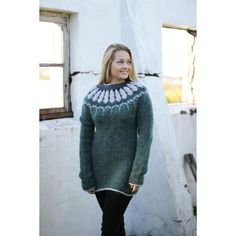 Icelandic sweater, lopapeysa ($185) ❤ liked on Polyvore featuring tops, sweaters, knitwear sweater, zip sweater, blue hooded sweater, collared sweaters and print sweater