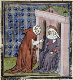 The abbot of Saint-Denis consulting a wise-woman. Royal MS 20 C VII, f. Medieval Manuscript, Medieval Art, Illuminated Manuscript, St Denis, Medieval Pattern, Ancient Artefacts, Plantagenet, Duke Of York, Book Of Hours