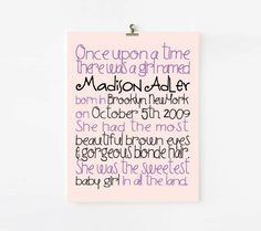Personalized Fairy Tale Birth Announcement and Kids Wall art for Girls 8x10. $18.00, via Etsy.